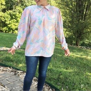 Vintage Pastel Abstract Print Oversized Blouse